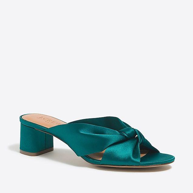 ad41c6c458616 satin knotted block-heel mule slides   factorywomen sandals
