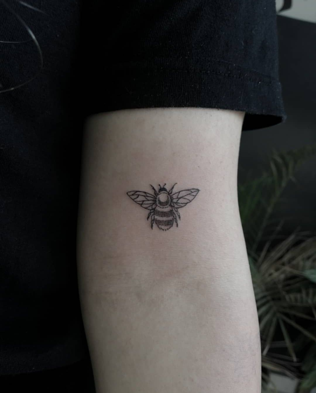 Bee tattoo. Bumble bee small