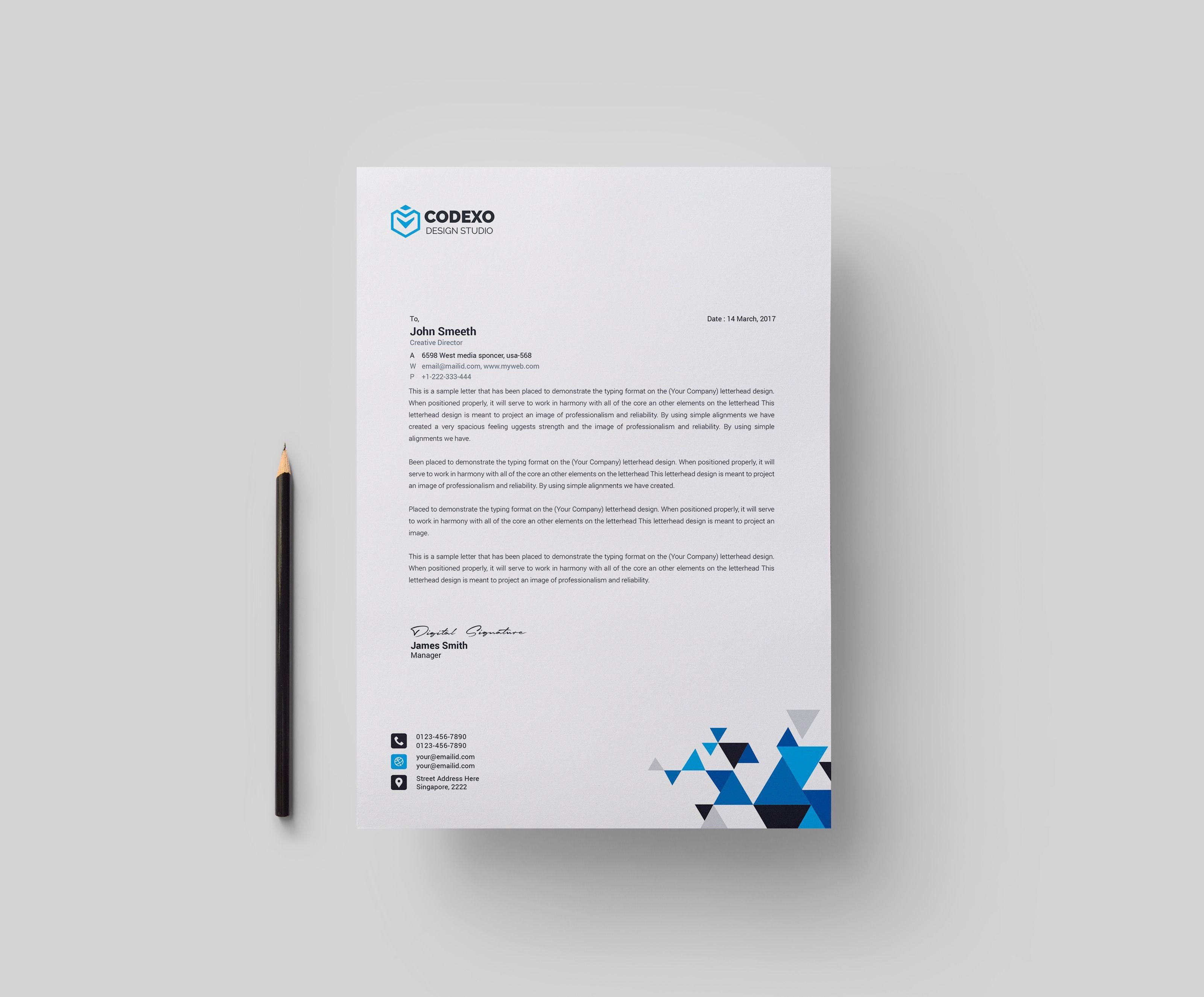 Triangle Professional Corporate Letterhead Template Graphic Templates Letterhead Design Letterhead Template Letterhead