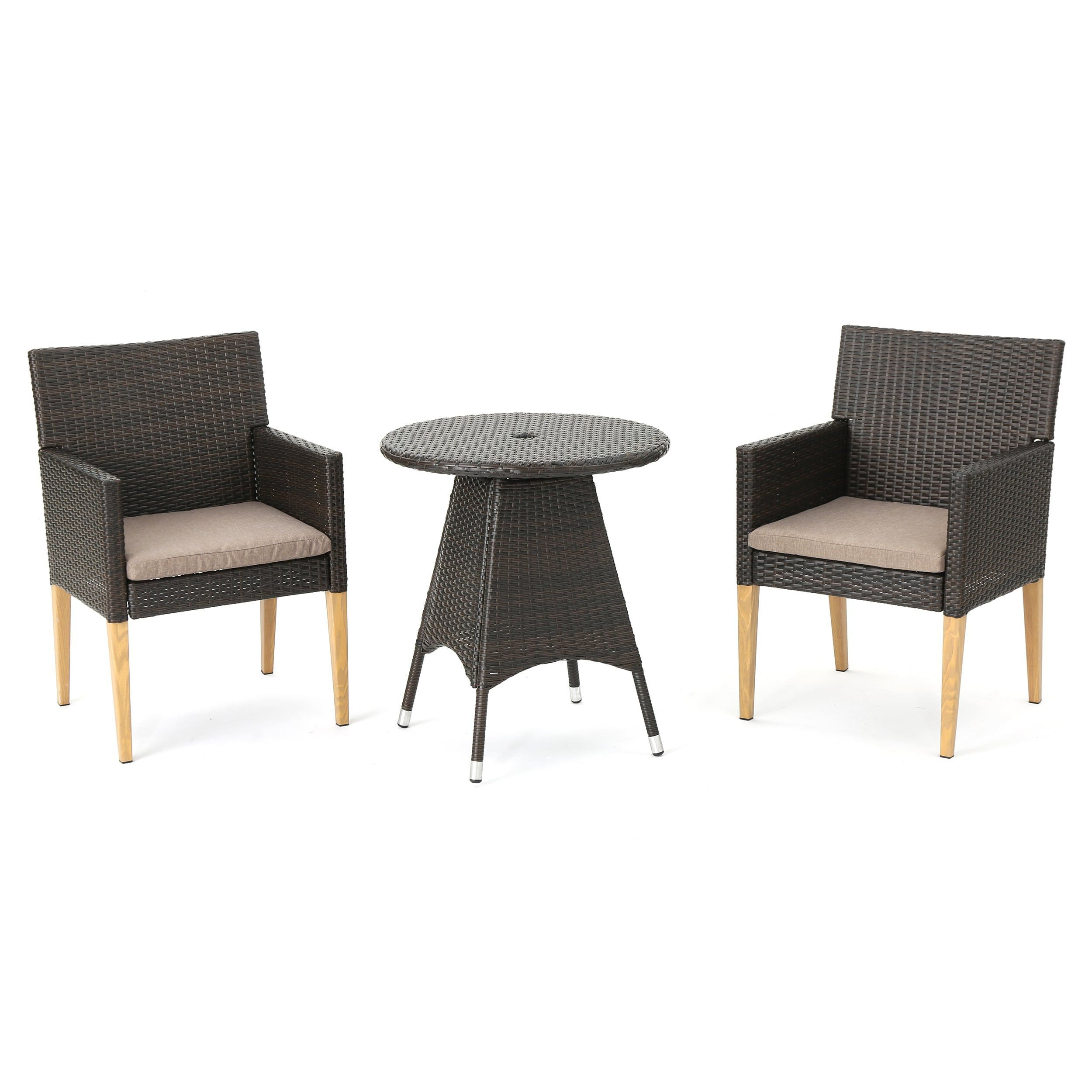 Barnett Outdoor 3 Piece Round Wicker Wood Bistro Chat Set With  # Table Pliante Style Brasserie
