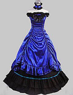 Senza maniche pavimento-lunghezza abito in raso di cotone blu Lolita Aristocrat