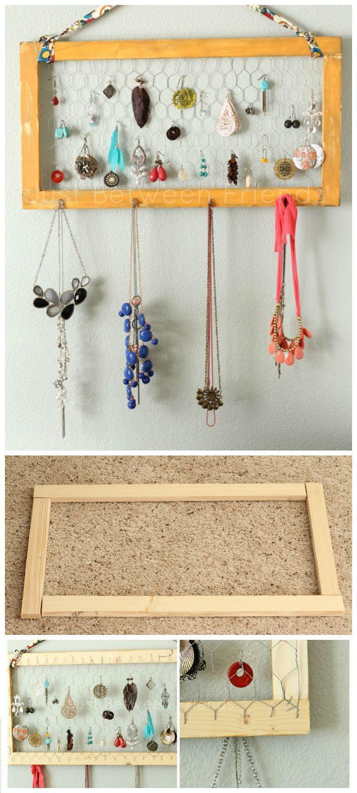 Wood Chicken Wire Jewelry Organizer 100 DIY Jewelry Organizers