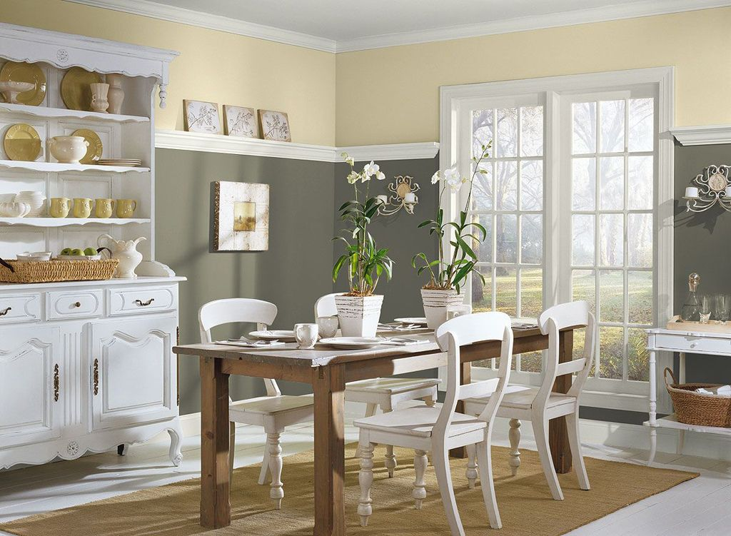 cream and grey combine wall white ceiling rustic dining ...