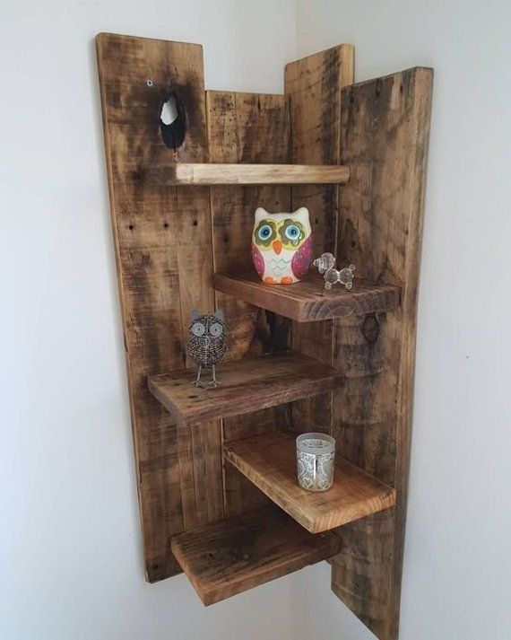 Eckregal Eckregale Wandregale Rustikales Regal Holzregal Hangendes Regal Pallet Wood Shelves Wooden Pallet Projects Diy Pallet Furniture