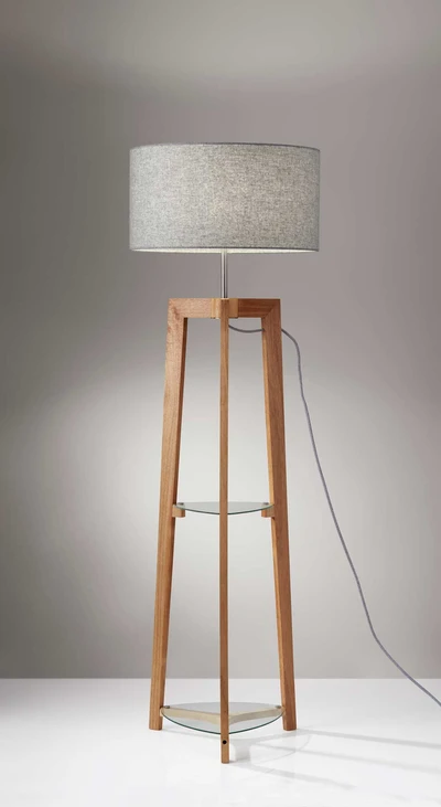 Herblay Shelf Floor Lamp Natural Gray In 2020 Floor Lamp With Shelves Floor Lamp Room Lamp