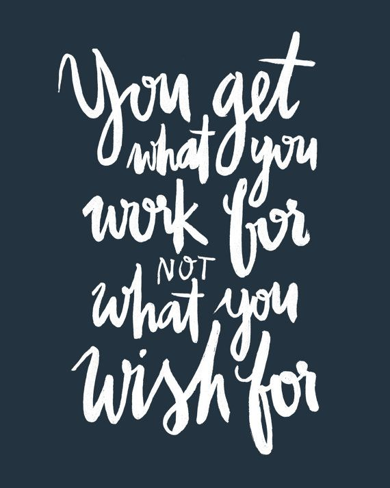 Work Wish Paint Brush White Blue Calligraphic Handlettered
