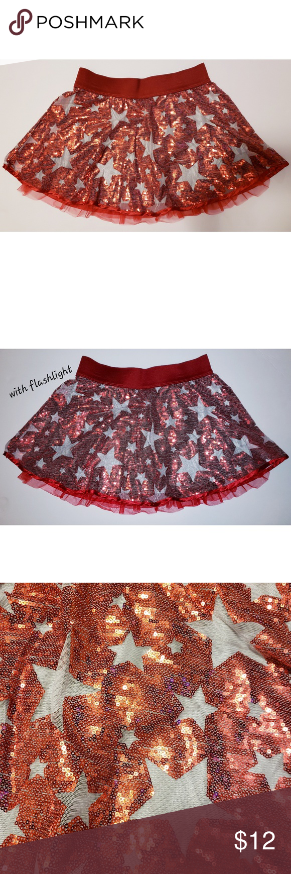 f9dacb17b Beautiful red sequin skirt with stars Girls beautiful red sequin skirt with  silver stars. Very sparkly! Brand new without tags never worn.