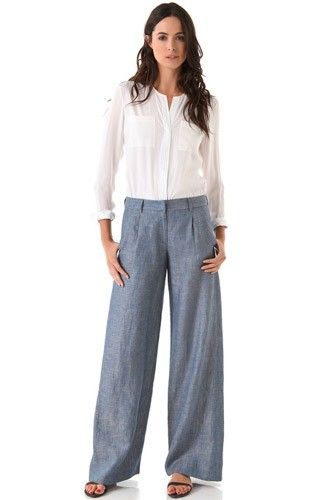 With flowy pants in a casual fabric, such as chambray, dial up the crisp-and-clean factor by pairing them with a timeless white shirt. Jenni Kayne Wide Leg Trousers, $450, available at Shopbop. #refinery29 http://www.refinery29.com/how-to-wear-wide-leg-pants#slide-2
