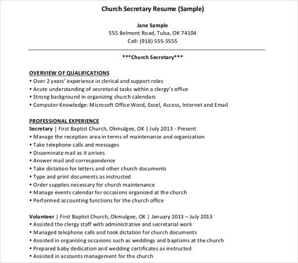 10 Secretary Resume Templates Free Printable Word Pdf