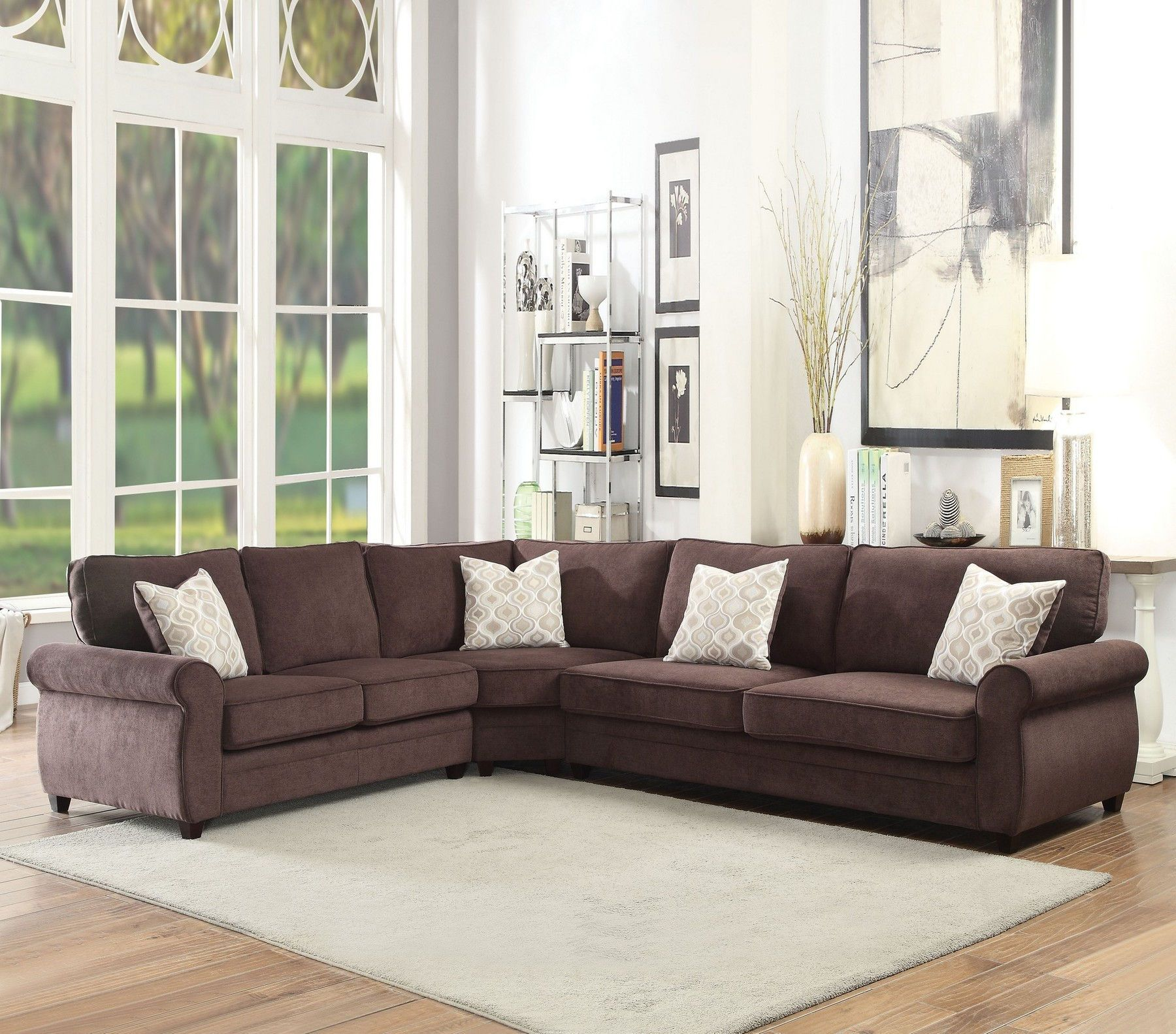 Acme Corporation Randolph Chocolate Chenille Sectional W Pull Out