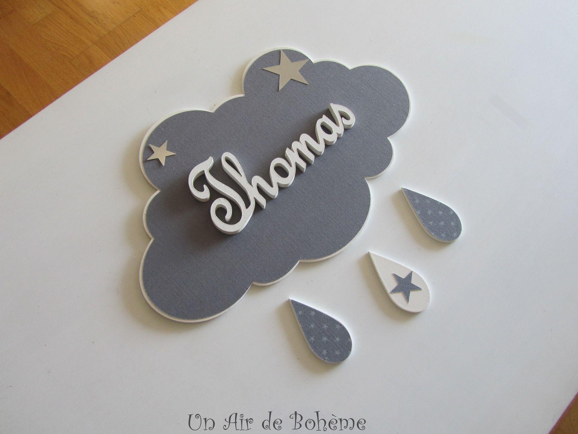 Plaque de porte nuage bois et tissu avec prenom gris uni d coration pour enfants par un air - Plaque de porte prenom ...
