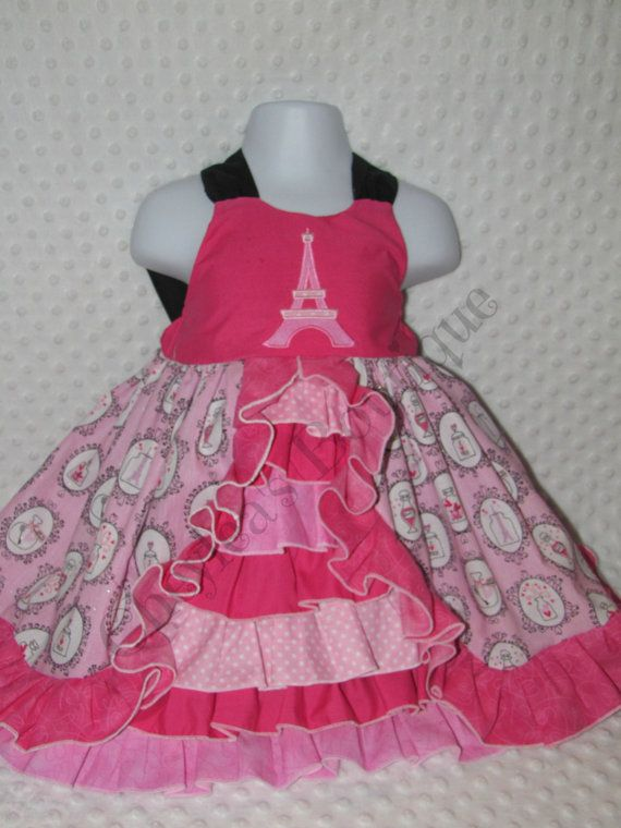a5255debbe7c Girls Pink Paris Dress French Ruffle Dress by CheyleasBoutique, $80.00
