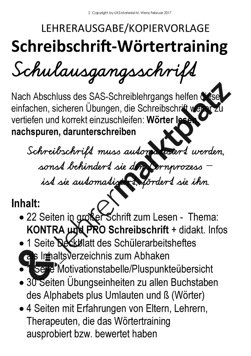 Schreibschrift-Wörtertraining in Schulausgangsschrift ...