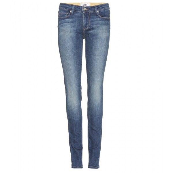 Paige Skyline Skinny Mid-Rise Jeans ($200) ❤ liked on Polyvore featuring jeans, pants, blue, blue jeans, skinny leg jeans, skinny jeans, paige denim jeans and paige denim skinny jeans