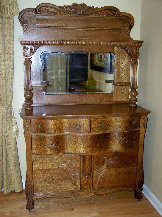 Golden Oak Dresser With Mirror