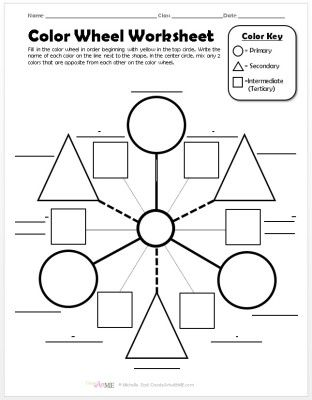 Color Wheel Worksheet Poster Teaching Art Pinterest Color