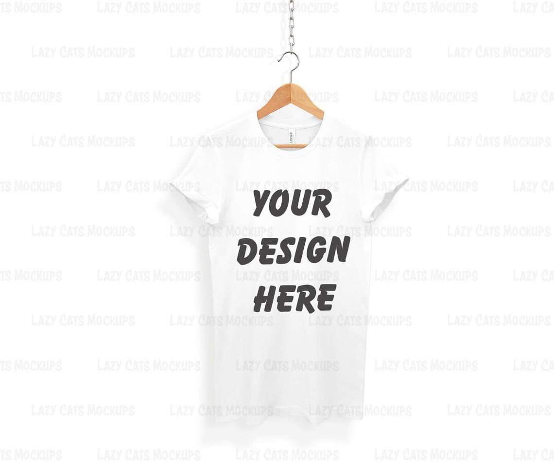 Download White Bella Canvas 3001 Mock Up On Hanger Shirt Mock Up White Etsy T Shirt Design Template Shirt Mockup T Shirt Image
