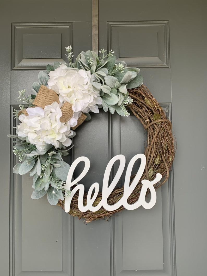 Photo of Summer wreaths for the front door, wreath for the front door, hydrangea wreath, front door wreath, summer door wreath, spring wreath for the front door