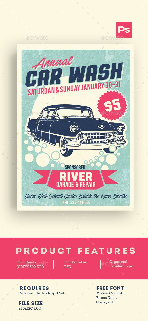 Car Wash Retro Style Flyer Template PSD #design Download   - Invitation Flyer Template