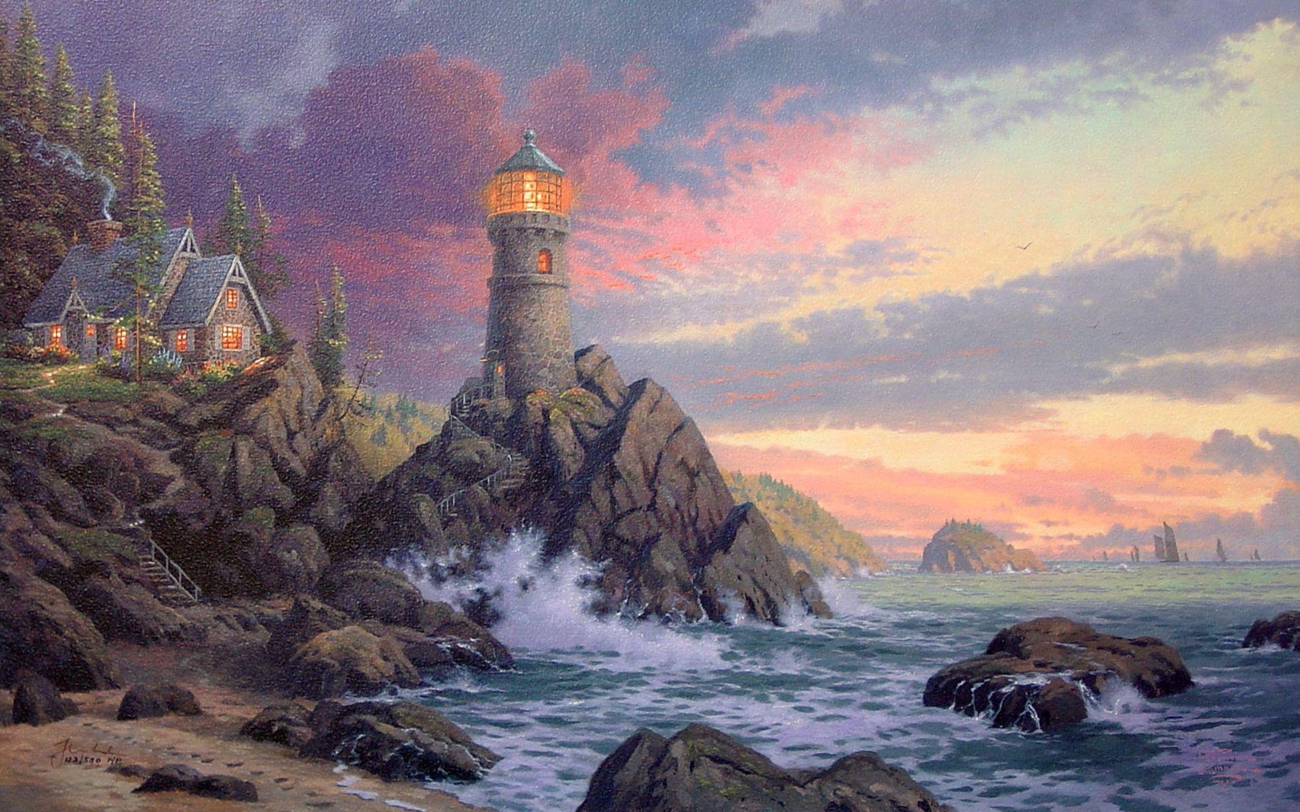 Thomas Kinkade Lighthouse Paintings Art Thomas Kinkade