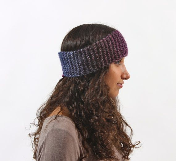 purple ombre knit headband winter etsy only $12
