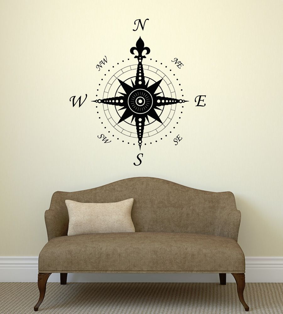 Details Wall Decal Compass Rose Home Decoration