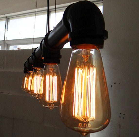 Industrial Lighting Hamilton: 5 Heads Edison Bulb Water Pipe Ceiling Lamp