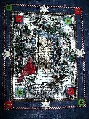 "9"" x 11"" Framed Christmas Holiday Cross Stitch Wall Decor Snowed in Kitten https://t.co/zrP8NIEuvs https://t.co/gOVWIS8c7F"