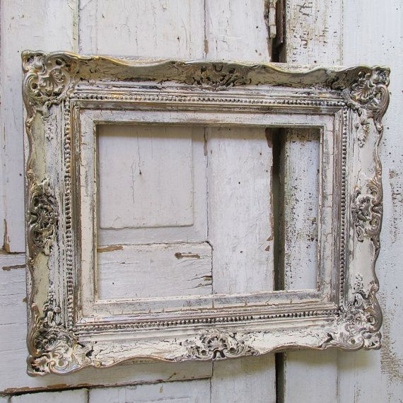Wooden white ivory frame wall hanging distressed shabby farmhouse ...