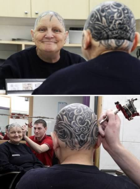 A grandmother who was left completely bald by alopecia has ditched her wig and did something more permanent.