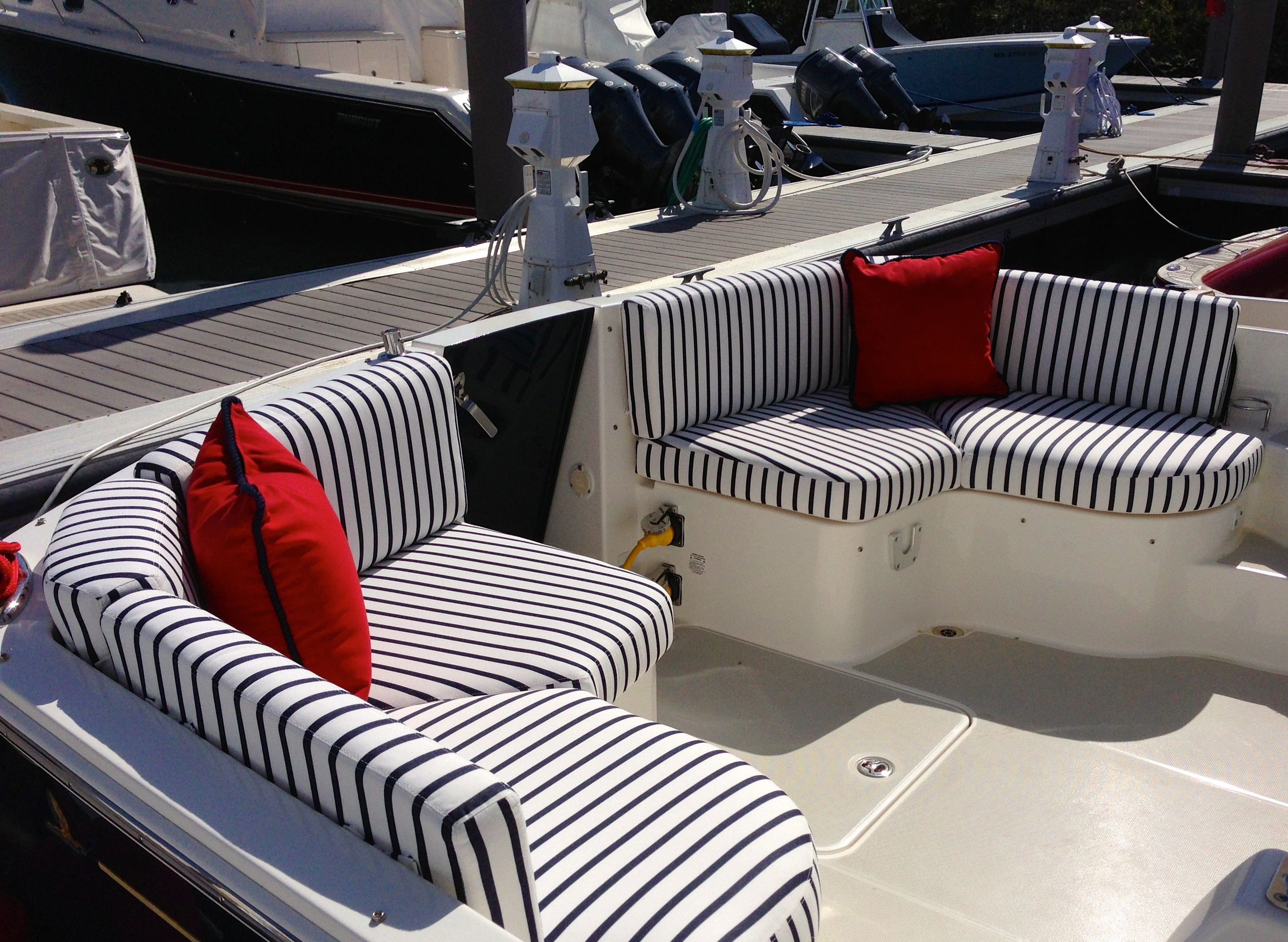 Red White Blue Cockpit Boston Yacht Sales Custom Fabrics S
