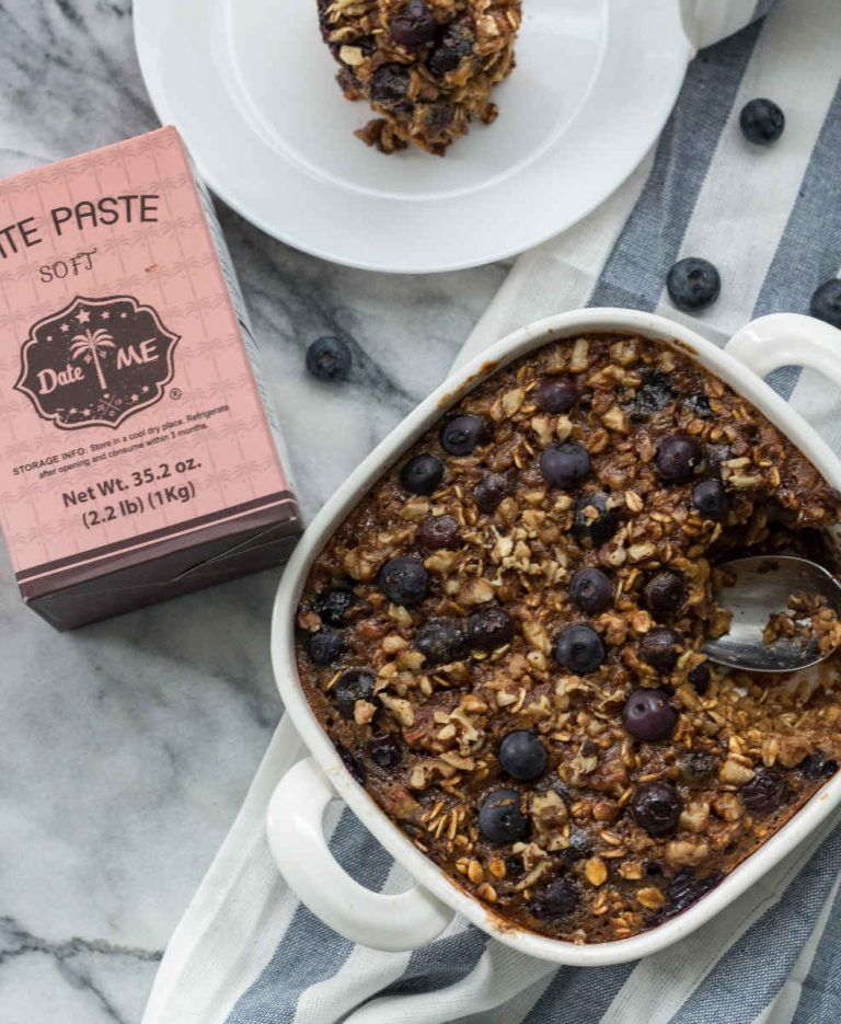 Baked Oatmeal With Nuts And Blueberries Made With Dateme Date Paste