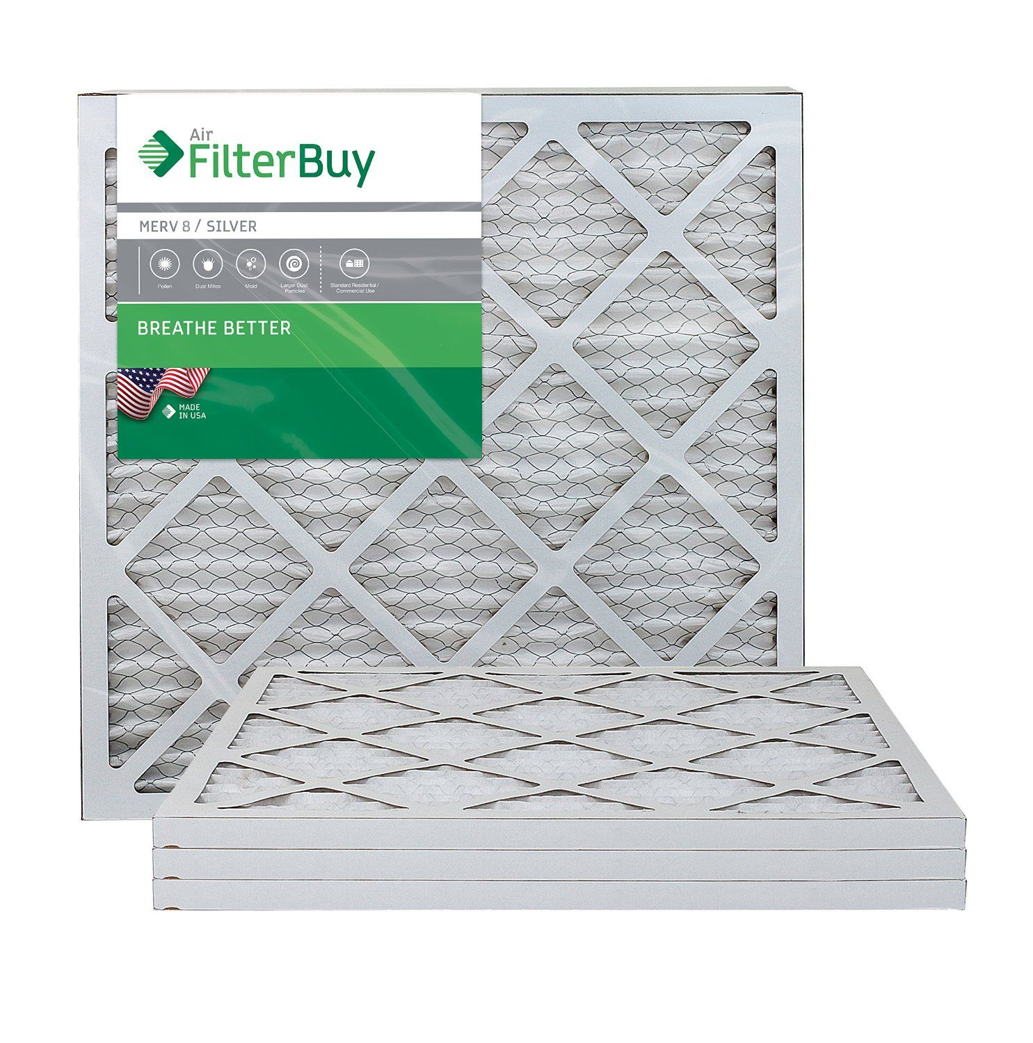 AFB Silver MERV 8 20x20x1 Pleated AC Furnace Air Filter