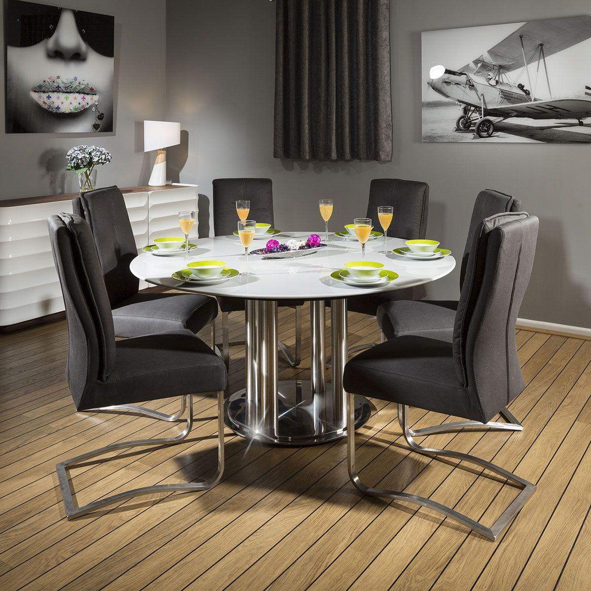 Round Dining Set Grey 150cm Dia Corian Table 6 X Deep Grey Chairs