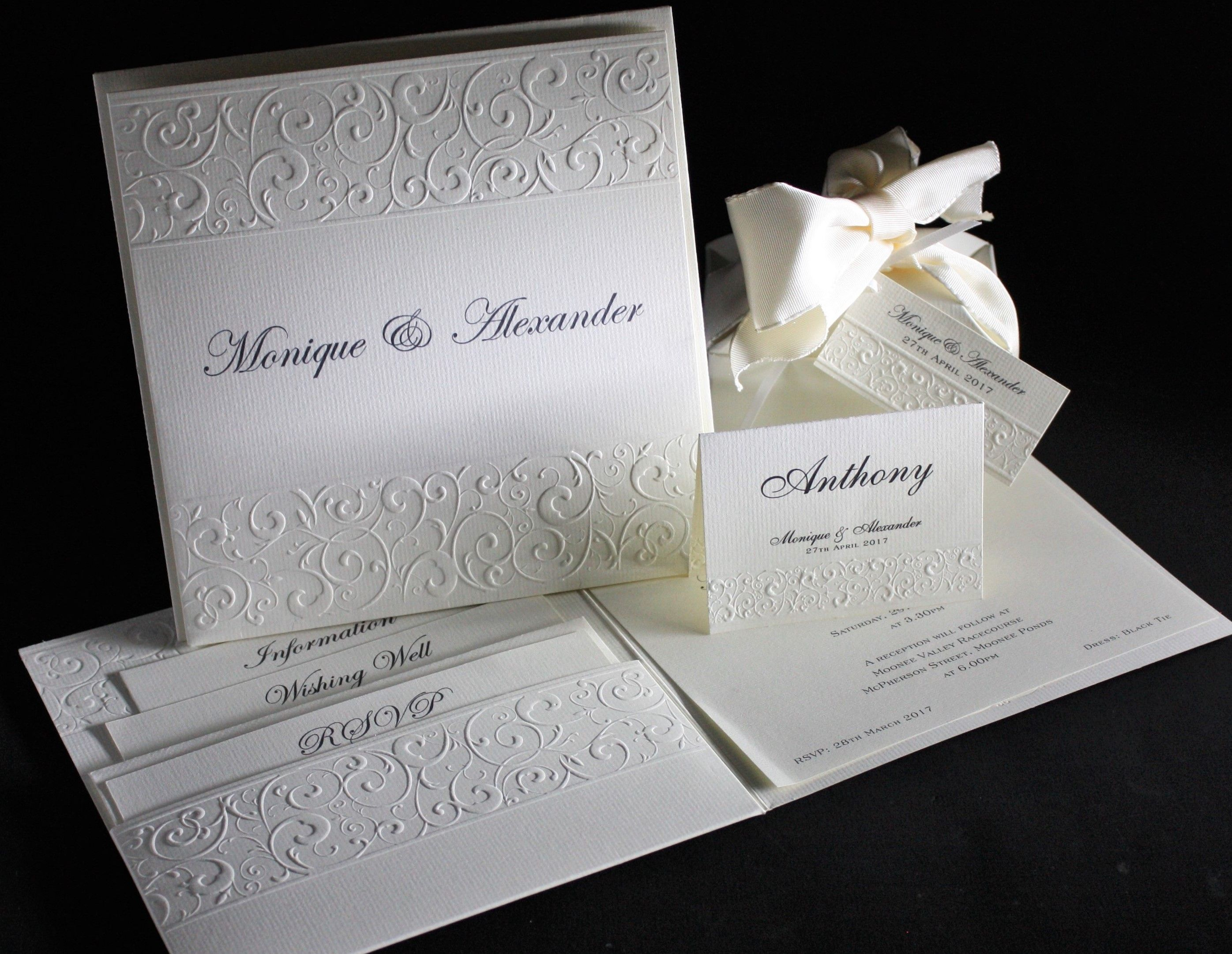 This beautifully embossed invitation with matching envelope – in ...