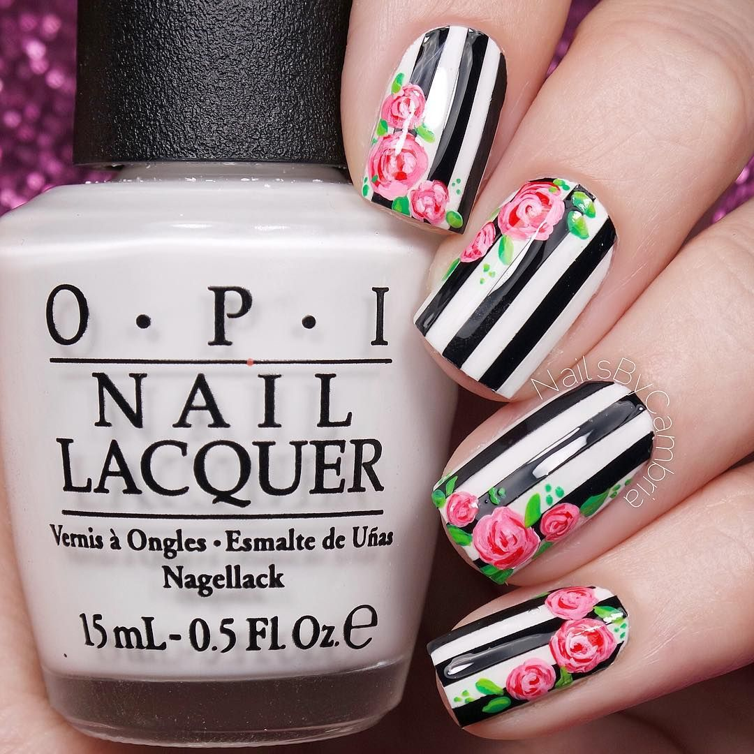 Floral Nails With Black and White Stripes | Floral Nails and Makeup ...