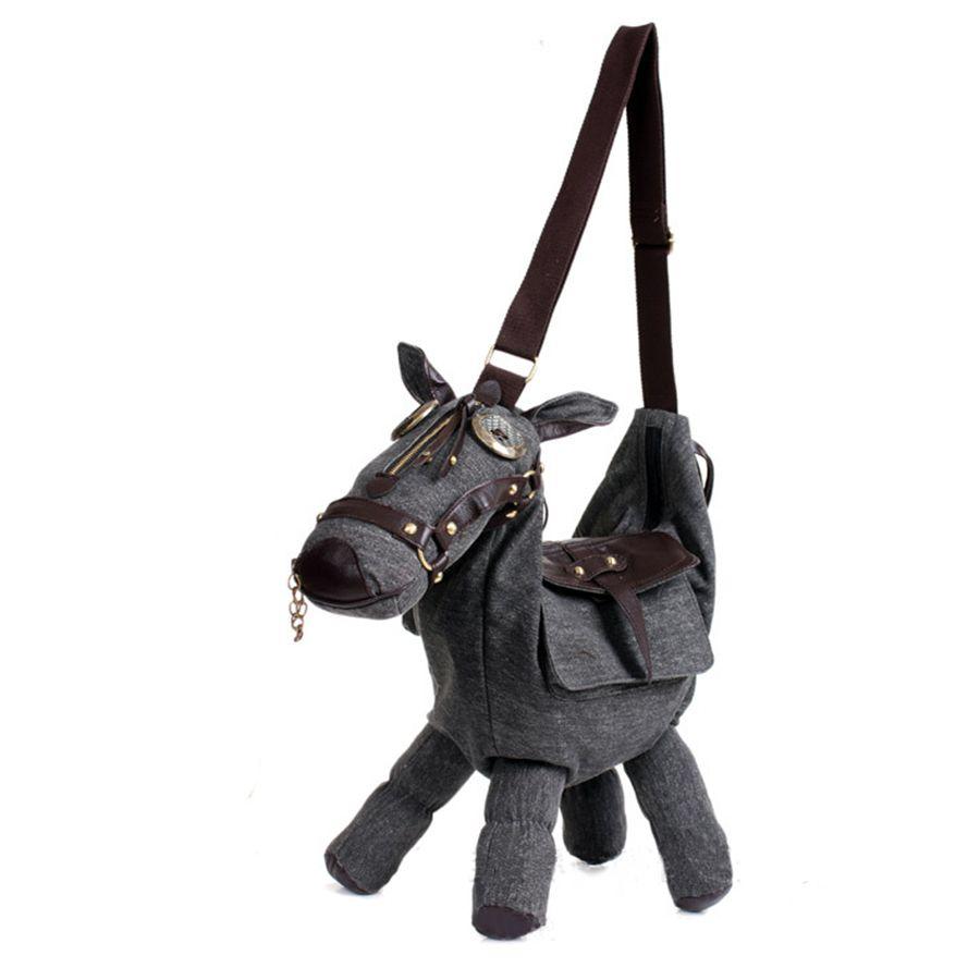 Canvas 3D Messenger Bag Cute Ladies Leather Canvas Saddle Donkey Shape Bag Women One Shoulder Bag Cross Body Sling Bag PH075