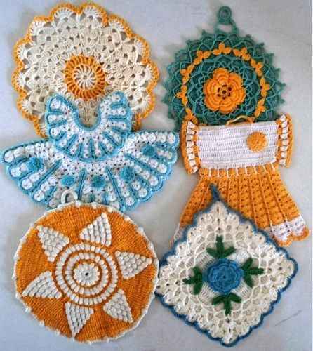 vintage blue yellow potholder crochet patterns crochet pinterest h keln topflappen. Black Bedroom Furniture Sets. Home Design Ideas
