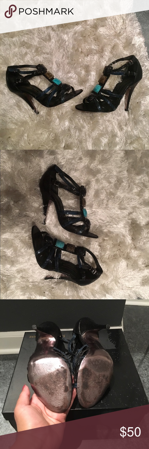 Steve Madden Heels Preloved condition Steve Madden Luxe Heels L-Ombre black & blue. $45 OBO. Steve Madden Shoes Heels