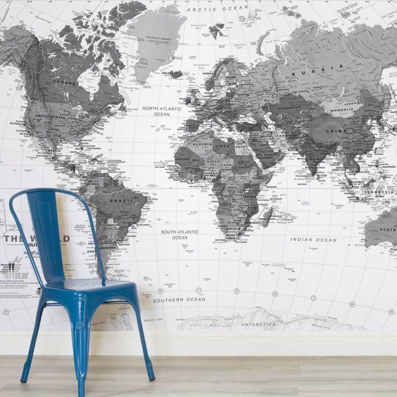 Grey dotted world map wall mural muralswallpaper wall grey dotted world map wall mural muralswallpaper gumiabroncs Images