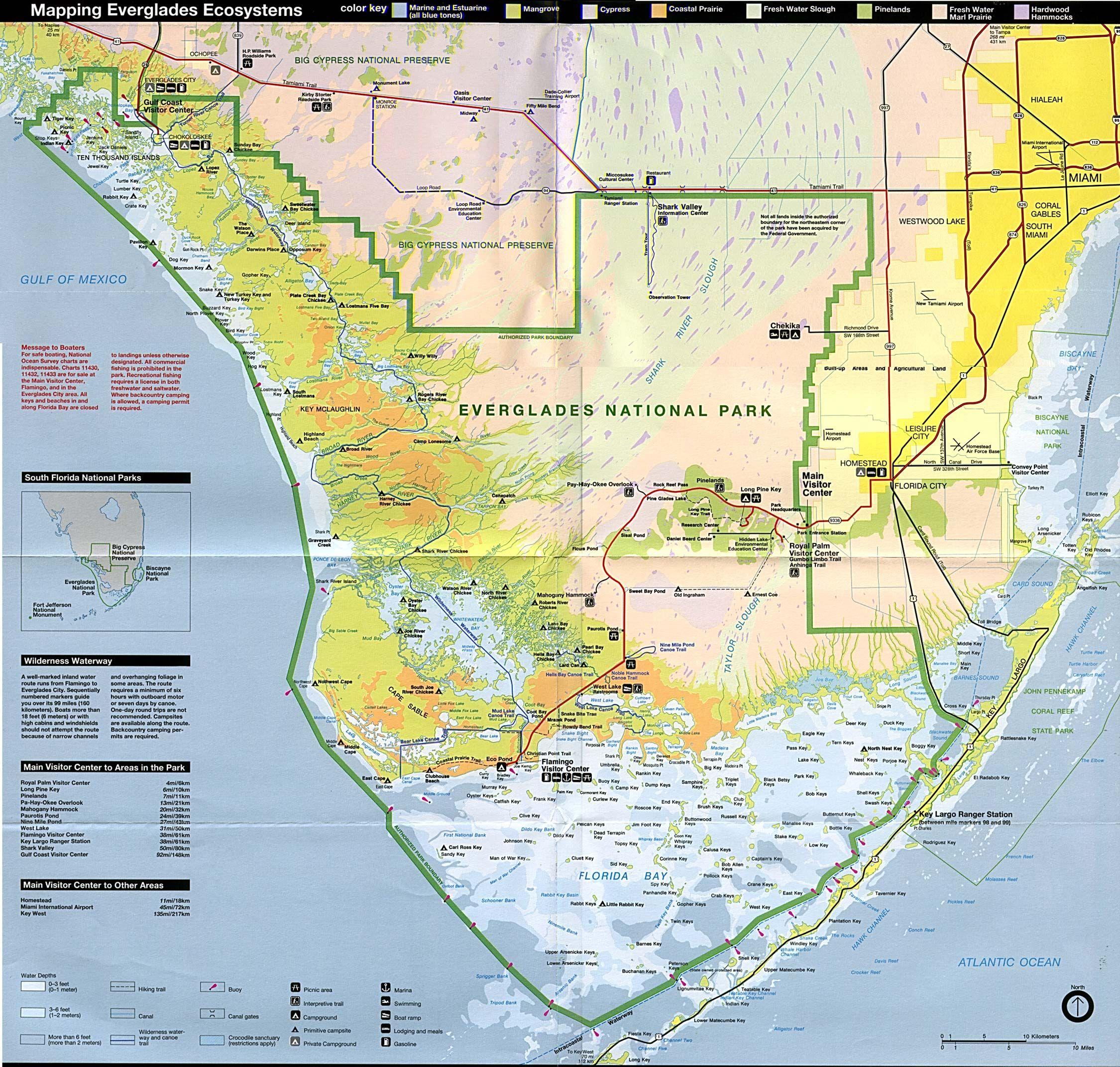 Everglades National Park Ecosystems Map Florida United States go