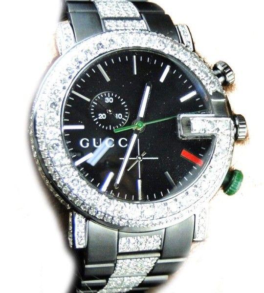 53dd1346ee1 Gucci Ya101331 Sides And Band 9 Ct Diamond Mens Watch
