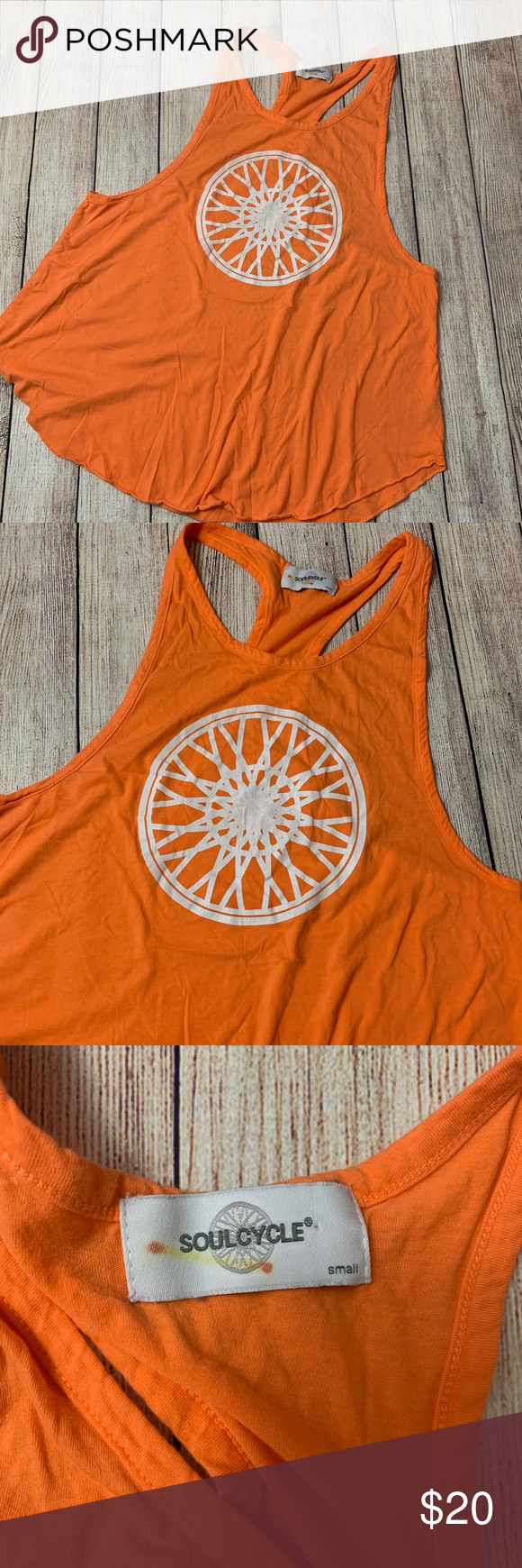 🛍 Soulcycle Orange Racerback Tank Top - 0125 Soulcycle Orange Racerback Tank Top. Size Small.   Condition:  🔸Pre-owned in good condition. No stains, rips or damage.   Approximate Measurements Laying Flat Pit to Pit: 19