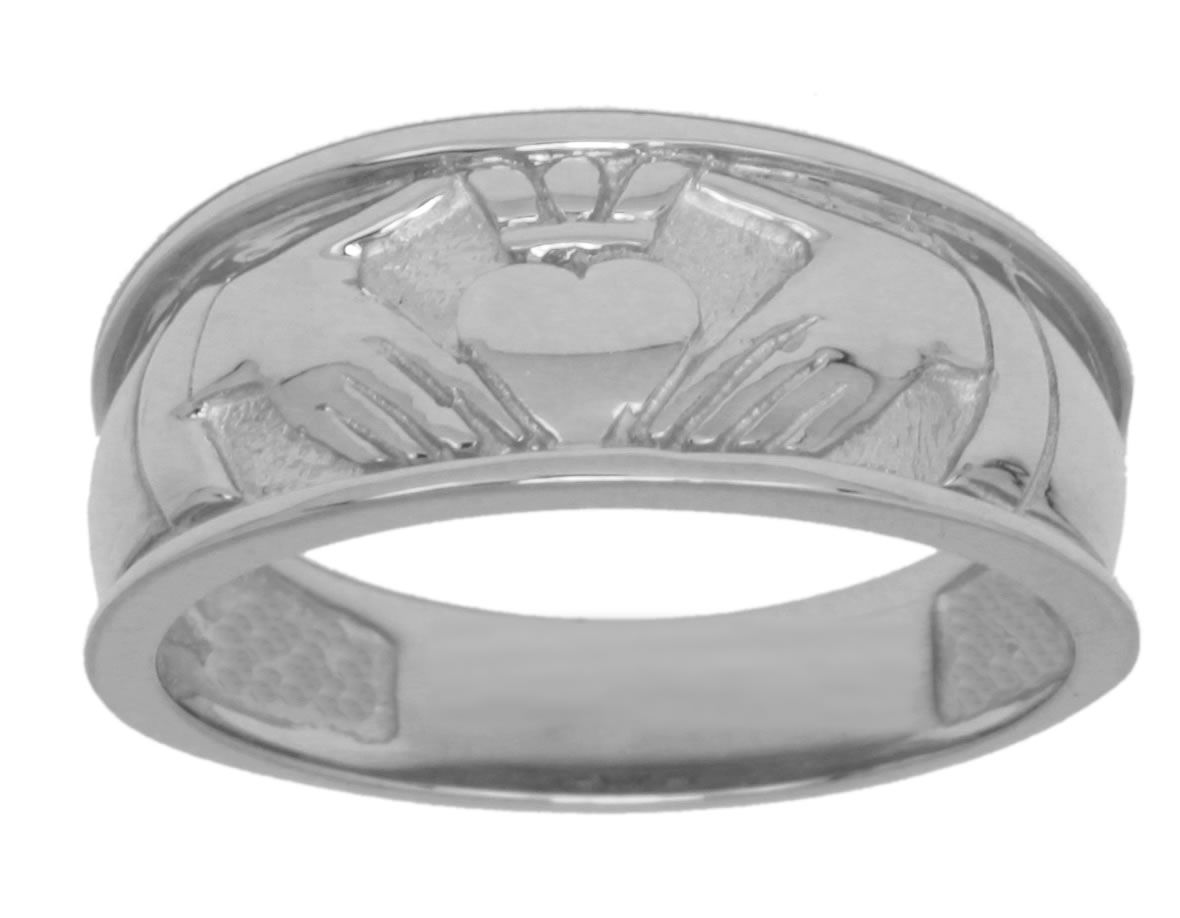 New Mens Sterling Silver Or Yellow Gold Irish Celtic Claddagh Wedding Ring Band Ebay