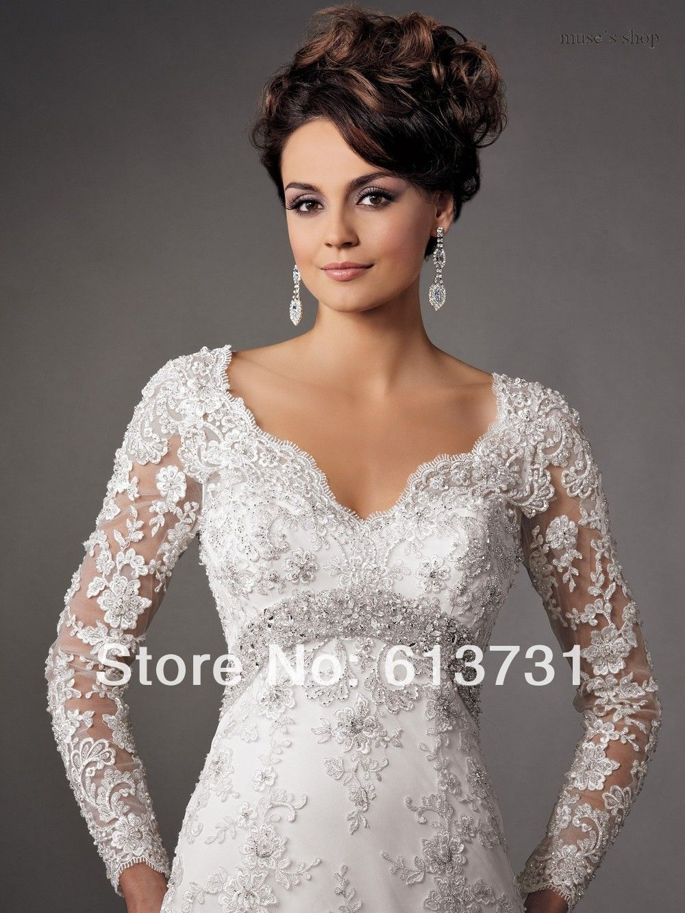 new fashion sexy v neck long sleeves lace appliques open back