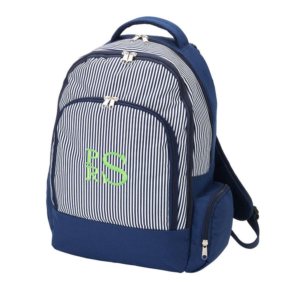 Backpack - Navy Stripe, monogrammed