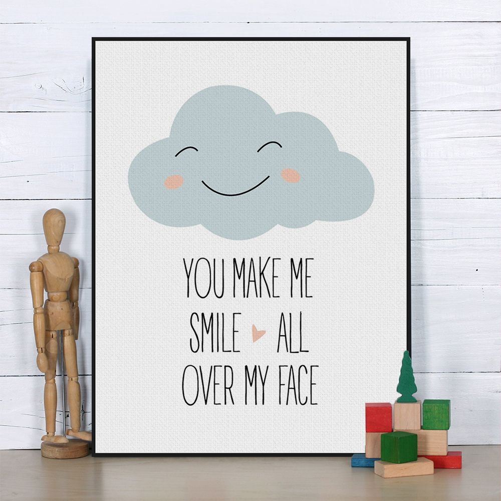 US $4.55 -- AliExpress.com Product - Nordic Kawaii Love Quotes Cloud Smile Poster Print A4 Modern Nursery Typography Wall Art Picture Kids Room Decor Canvas Painting