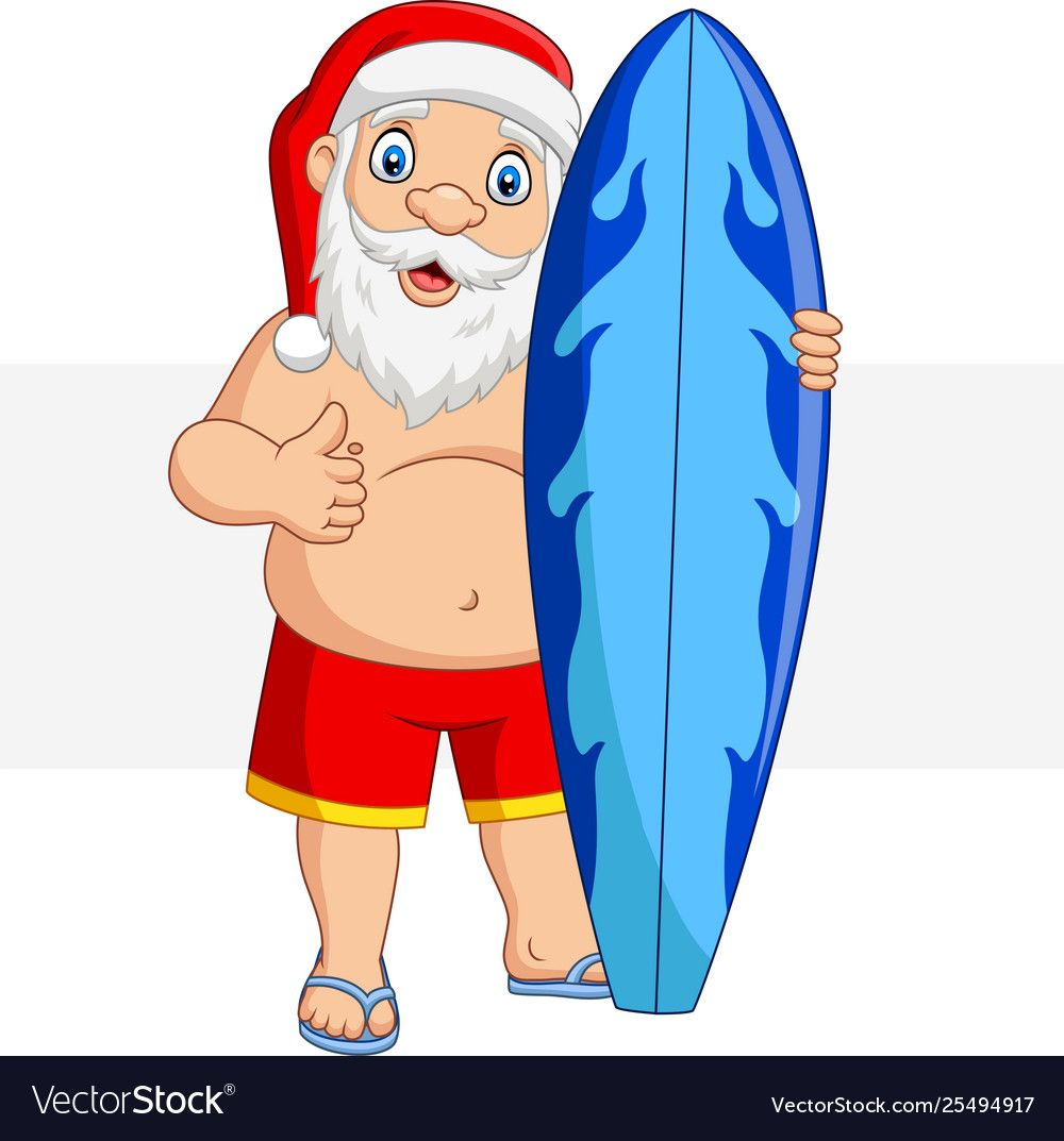 Illustration Of Cartoon Santa Claus Holding A Surfboard And Giving