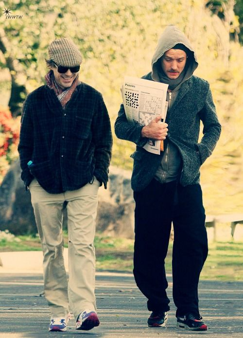"""Just two gents walking in a London park. (Robert Downey Jr. and Jude Law, during filming of """"Sherlock Holmes"""")"""