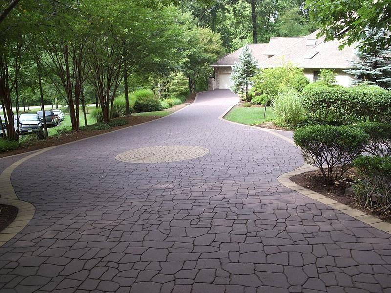 Stamped Concrete Pavement : Streetprint stamped asphalt driveway random slate home